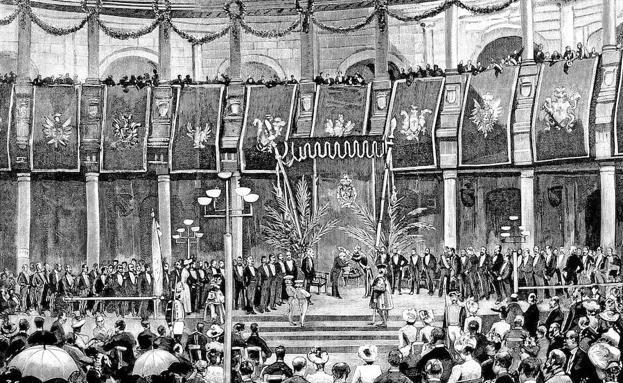 Coronación de Zorrilla como poeta nacional en Granada el 22 de junio de 1889, publicada en 'La Ilustración Española y Americana'. A la derecha, cartel del programa festivo.