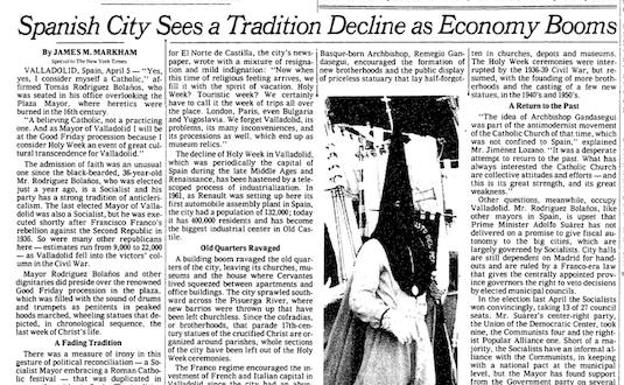 Reportaje sobre Valladolid publicado en 'The New York Times' el 12 de abril de 1980/El Norte