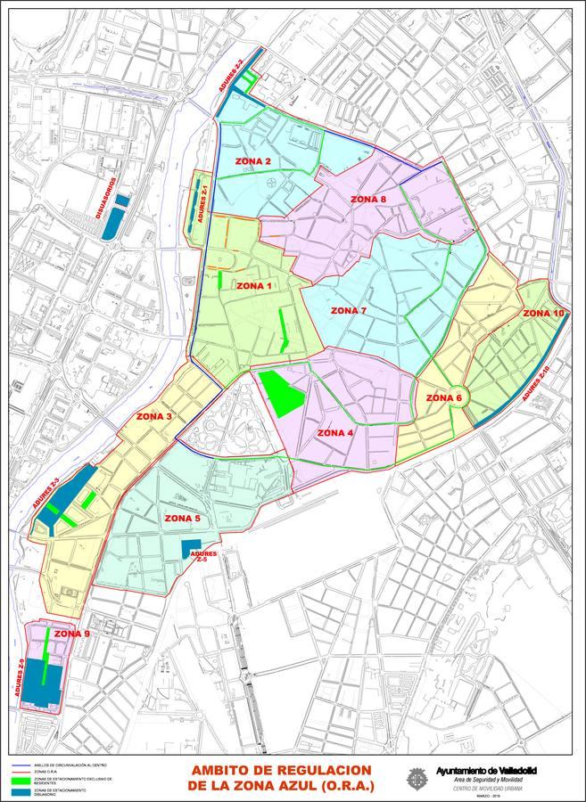 Zona Azul Sevilla Mapa.El Ayuntamiento De Valladolid Amplia La Ora En 1 125 Plazas